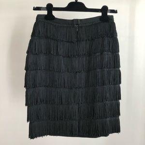 1990s Vintage Fringed Black Wool Crepe Skirt
